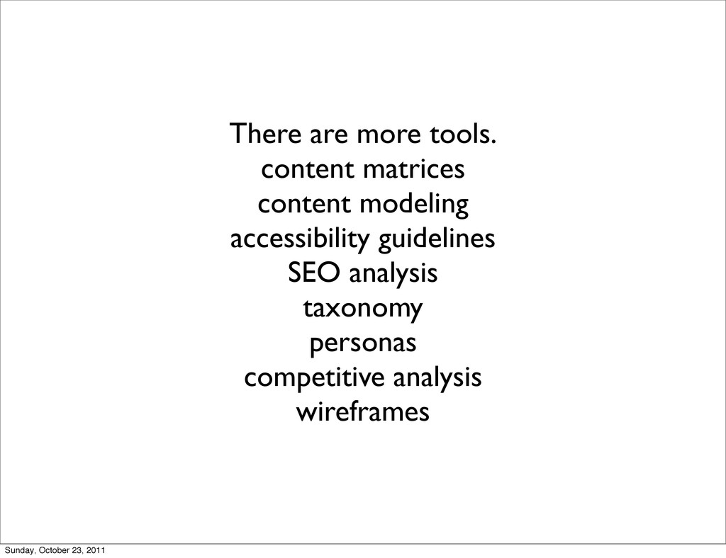 There are more tools. content matrices content ...