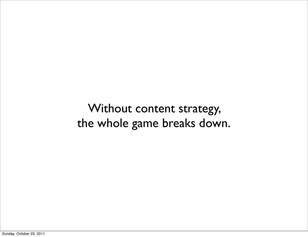 Without content strategy, the whole game breaks...