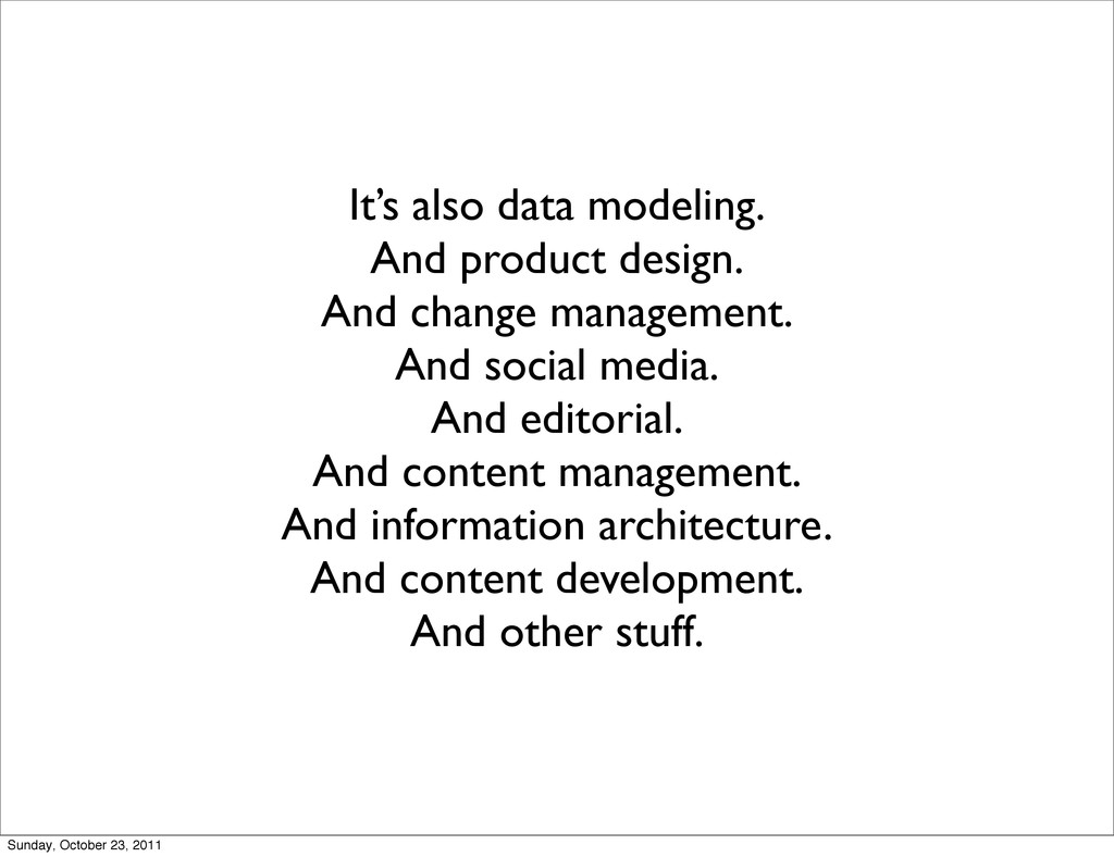 It's also data modeling. And product design. An...