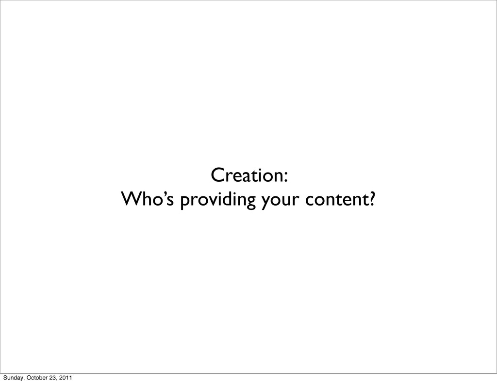 Creation: Who's providing your content? Sunday,...