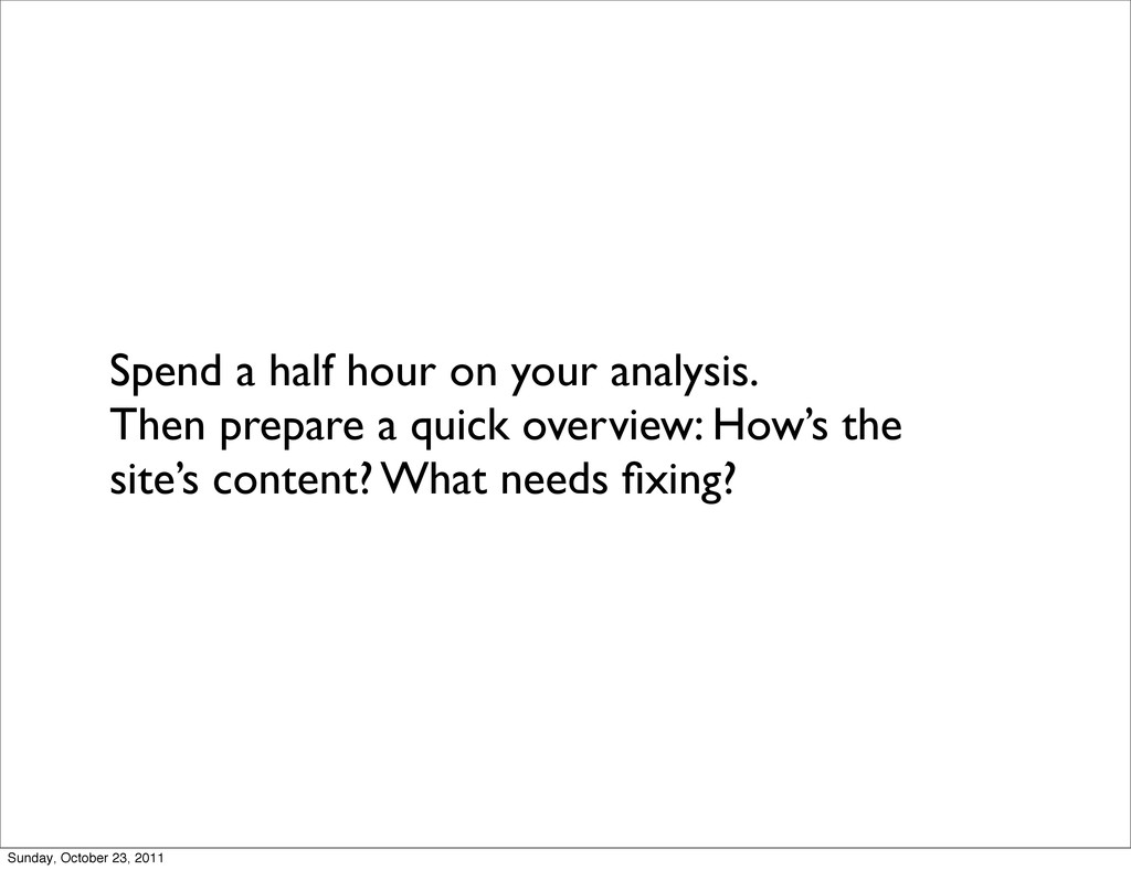 Spend a half hour on your analysis. Then prepar...