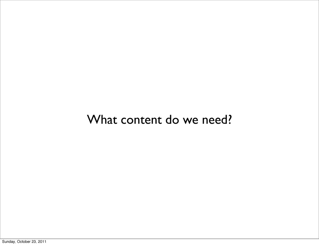 What content do we need? Sunday, October 23, 20...