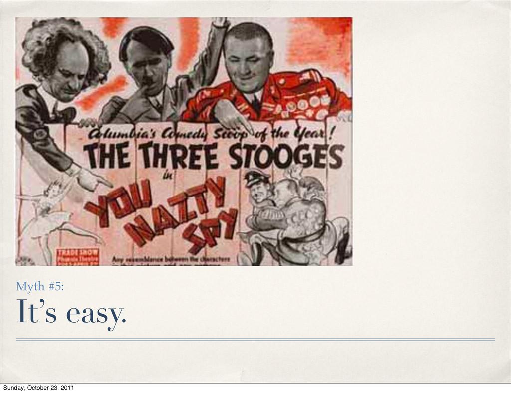 Myth #5: It's easy. Sunday, October 23, 2011
