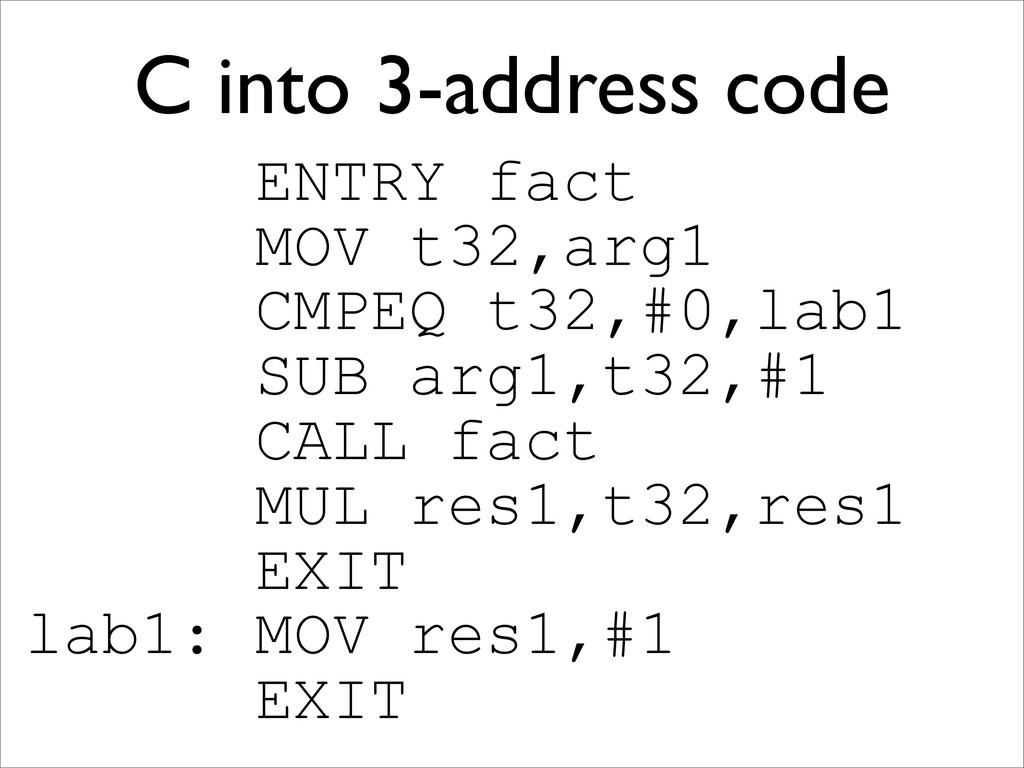 C into 3-address code ENTRY fact MOV t32,arg1 C...
