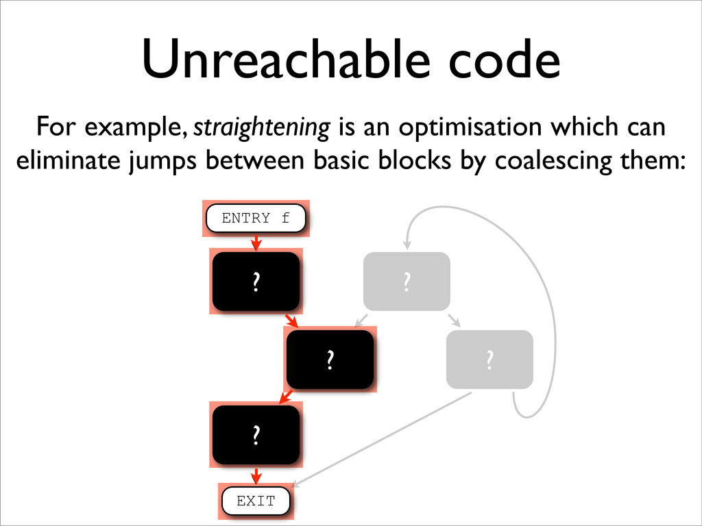 ? ? Unreachable code For example, straightening...