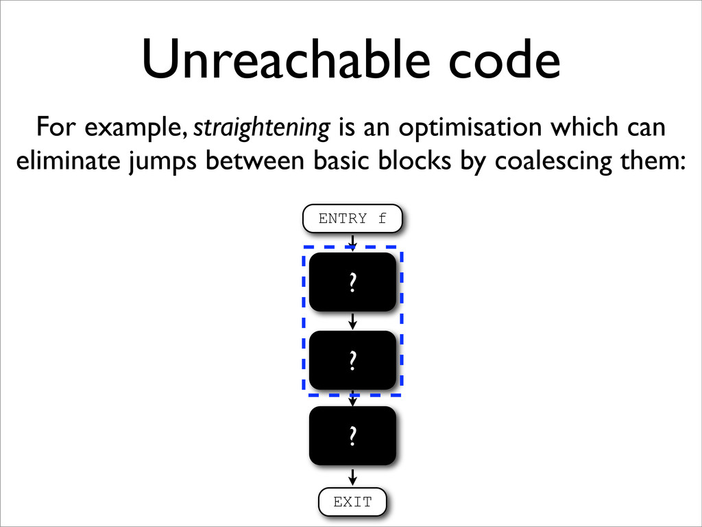 Unreachable code For example, straightening is ...