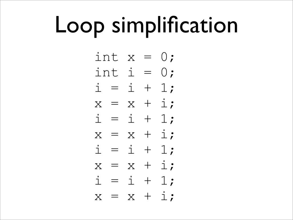 Loop simplification int x = 0; int i = 0; i = i ...