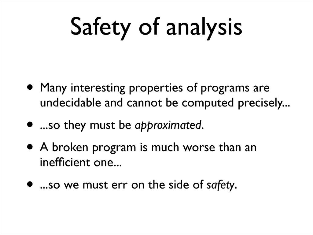 Safety of analysis • Many interesting propertie...