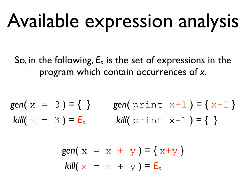 Available expression analysis gen( print x+1 ) ...