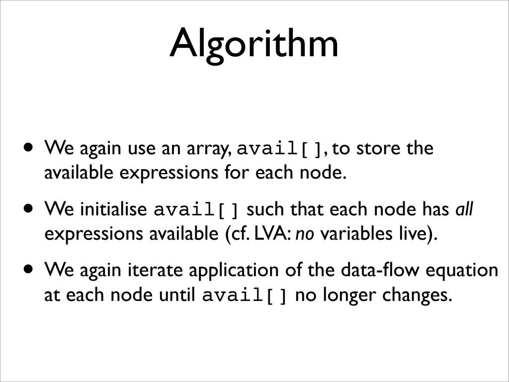 Algorithm • We again use an array, avail[], to ...