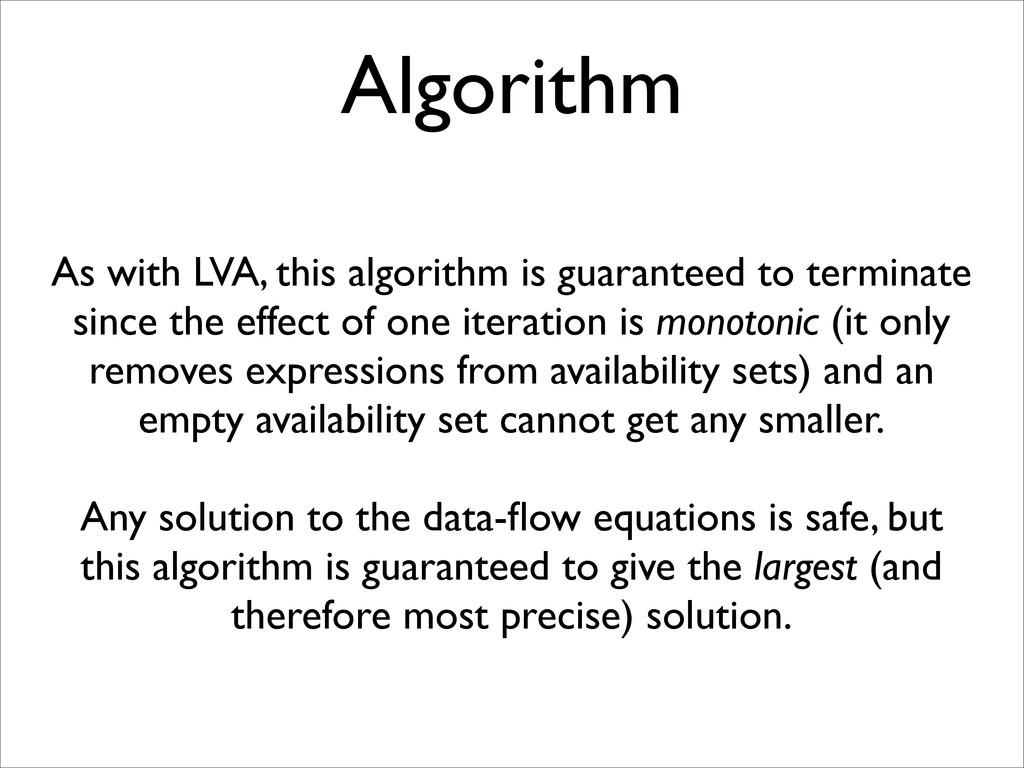 Algorithm As with LVA, this algorithm is guaran...