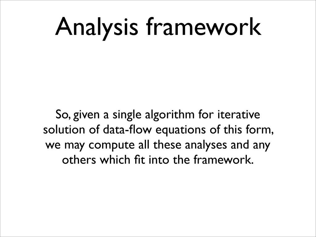 Analysis framework So, given a single algorithm...