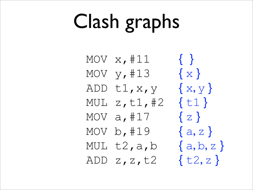 Clash graphs MOV x,#11 { } MOV y,#13 { x } ADD ...