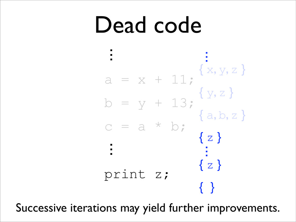 { a, b, z } Dead code ɗ a = x + 11; b = y + 13;...