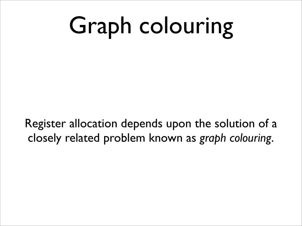 Graph colouring Register allocation depends upo...