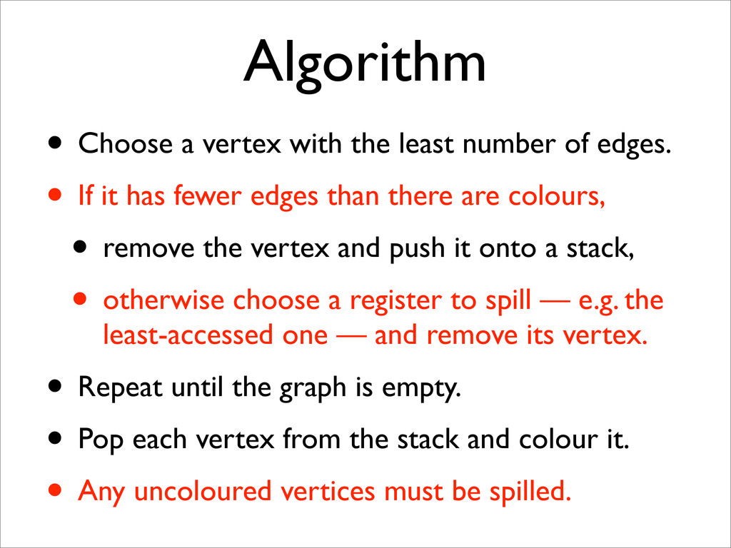 Algorithm • Choose a vertex with the least numb...