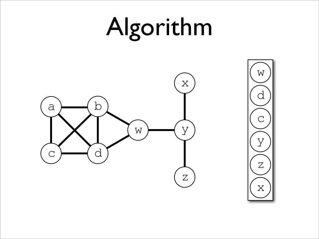 Algorithm z a x z y w b c d x y c d w