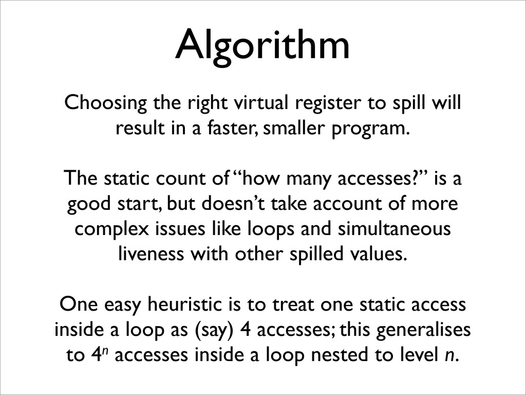 Algorithm Choosing the right virtual register t...
