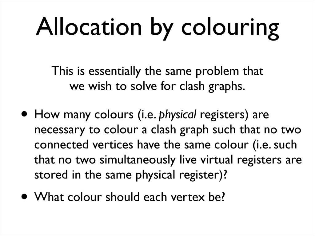 Allocation by colouring This is essentially the...