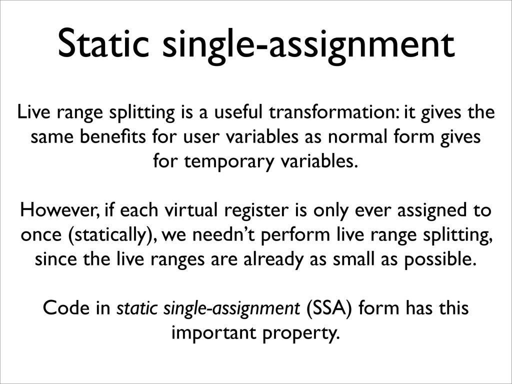 Static single-assignment Live range splitting i...