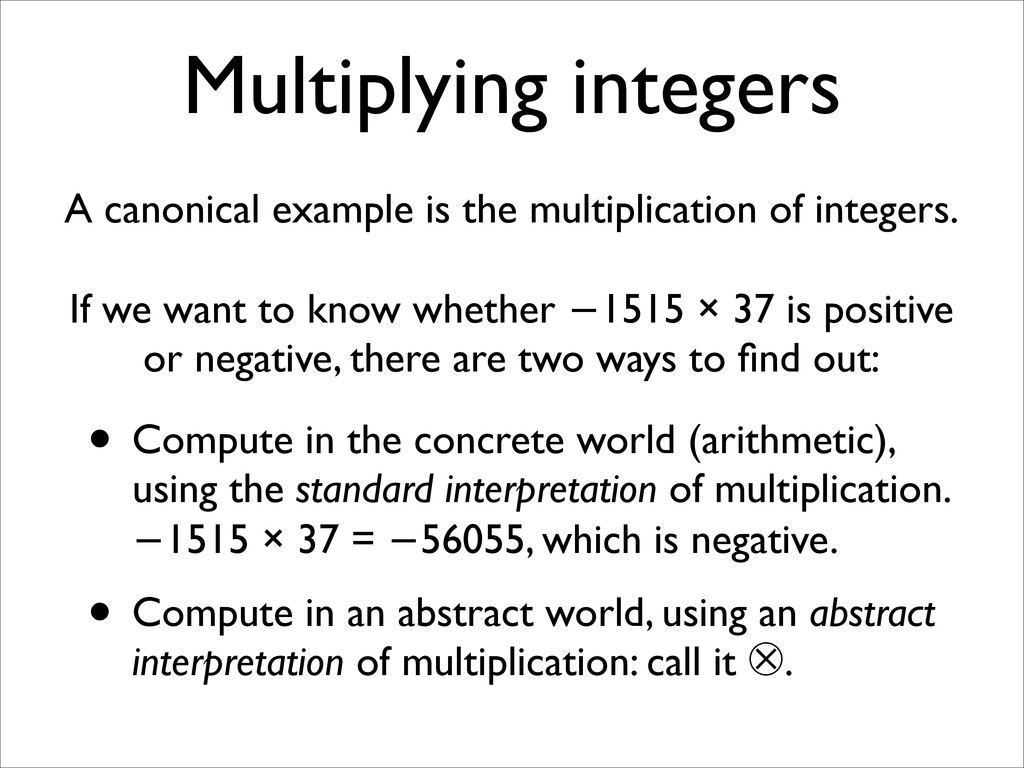 Multiplying integers A canonical example is the...