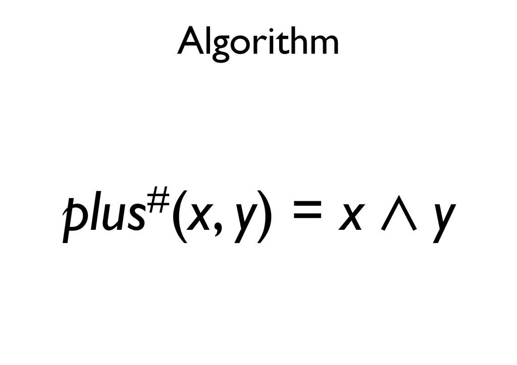 Algorithm plus#(x, y) = x 㱸 y