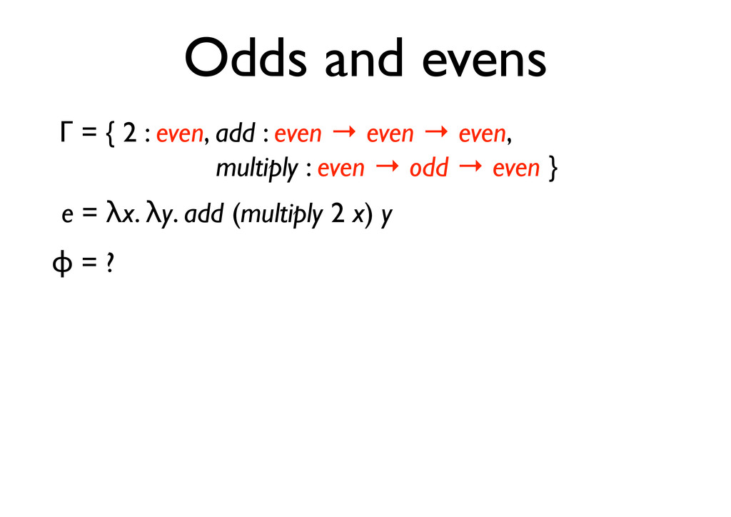 """ = ? e = #x. #y. add (multiply 2 x) y Odds and..."