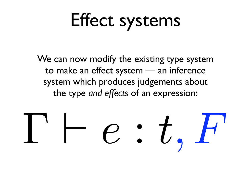 Effect systems Γ e : t, F We can now modify the...