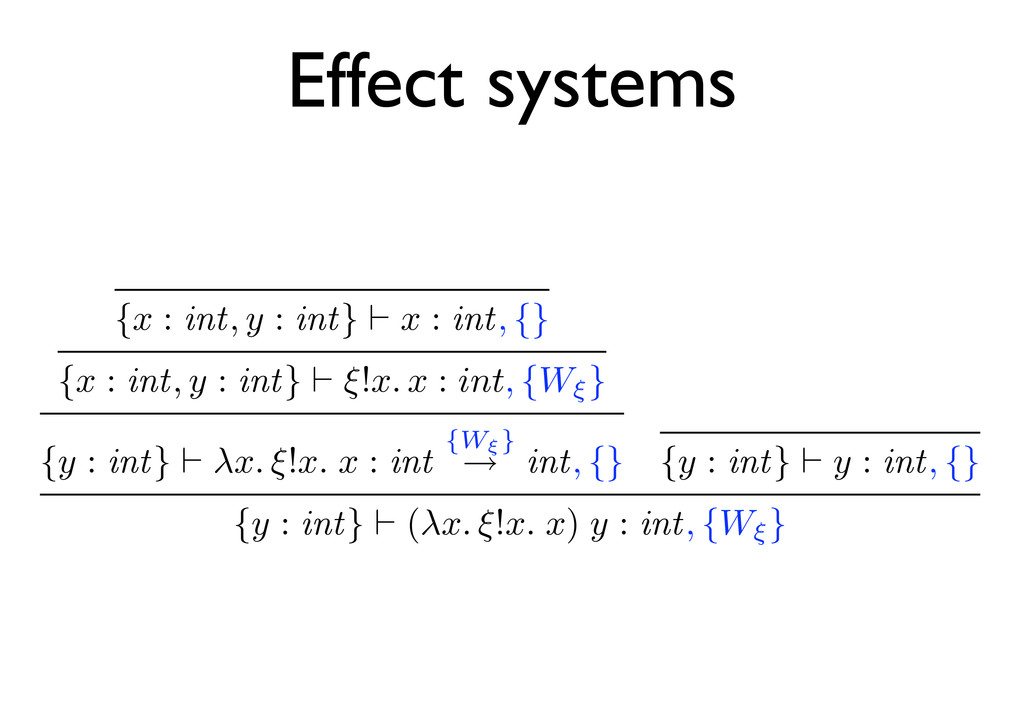 Effect systems {x : int, y : int} x : int, {} {...