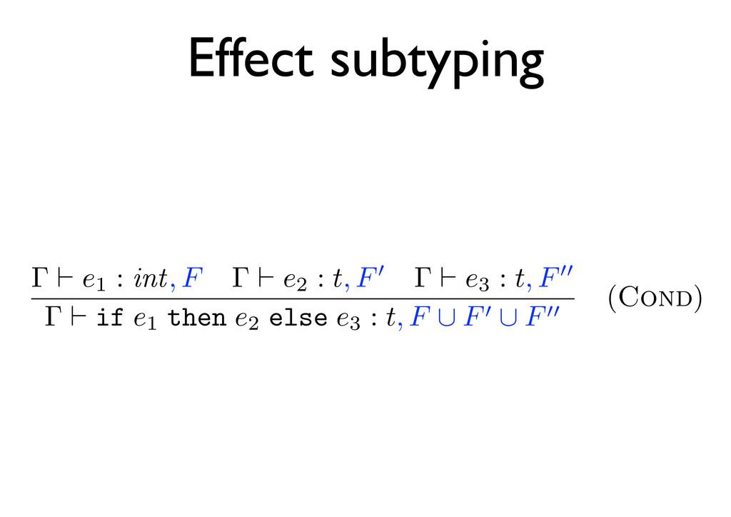 Effect subtyping Γ e1 : int, F Γ e2 : t, F Γ e3...
