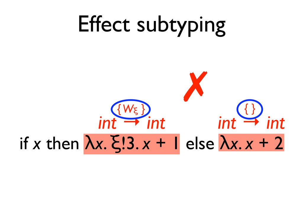 "Effect subtyping if x then !x. ""!3. x + 1 else ..."