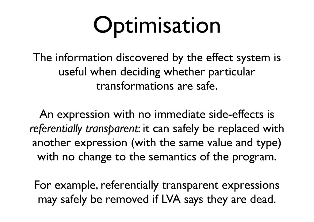 Optimisation The information discovered by the ...