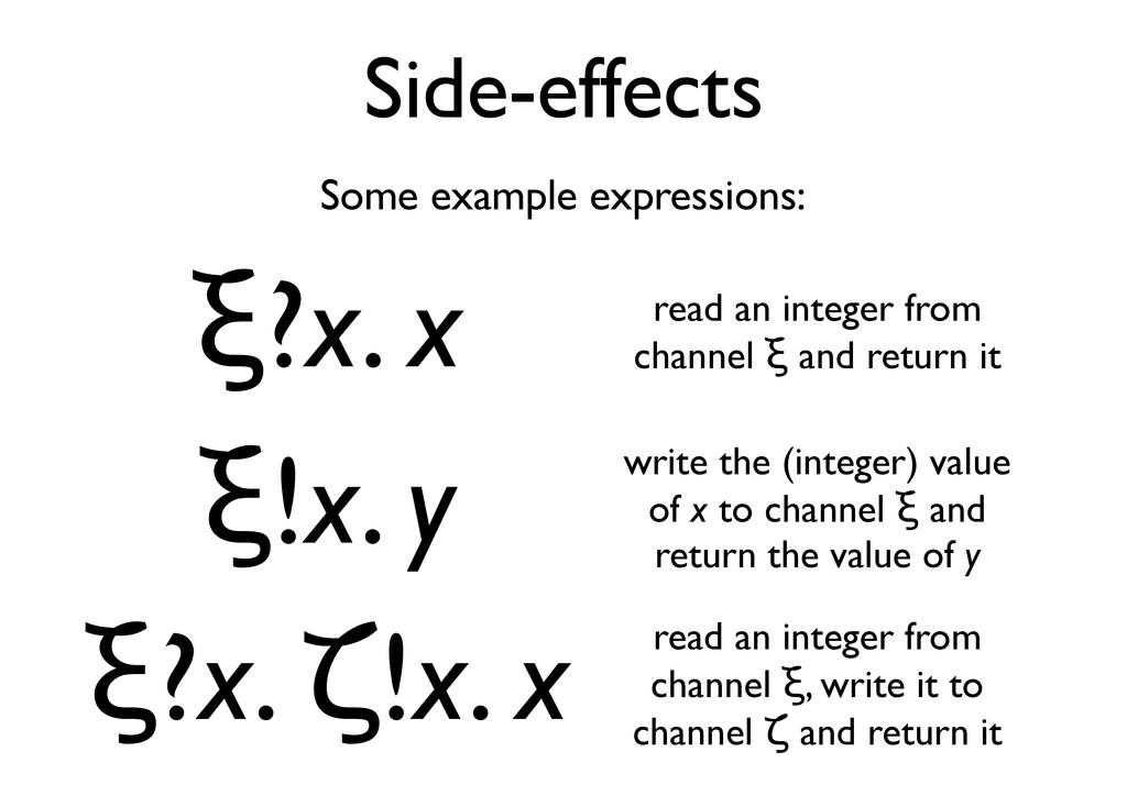 """Side-effects """"?x. x """"!x. y """"?x. #!x. x Some exa..."""