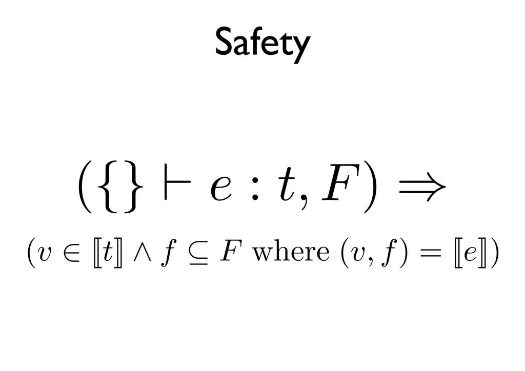 Safety ({} e : t, F) ⇒ (v ⇒ (v ∈ [[t]] ∧ f ⊆ F ...