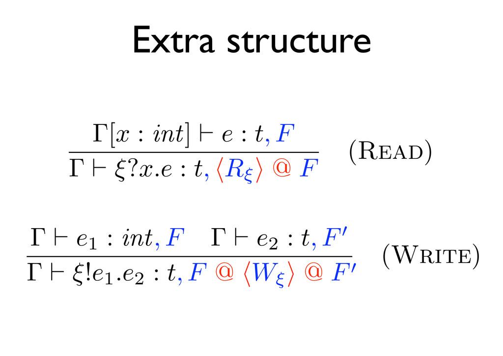 Extra structure Γ[x : int] e : t, F Γ ξ?x.e : t...