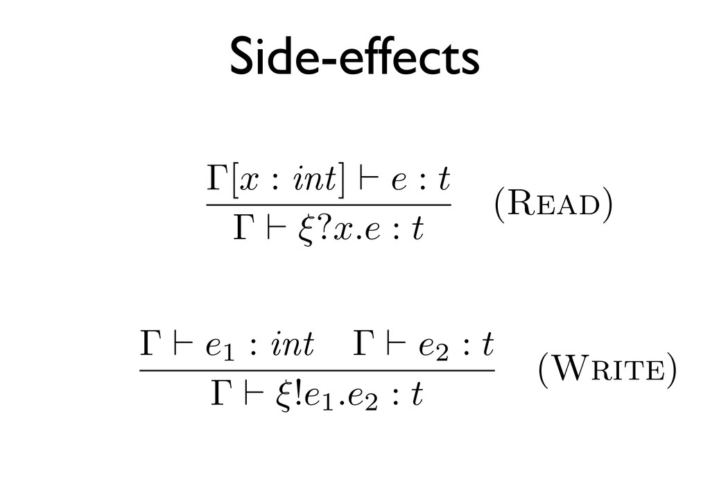 Γ[x : int] e : t Γ ξ?x.e : t (Read) Γ e1 : int ...