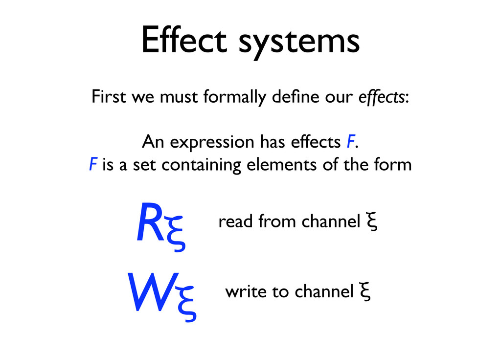 Effect systems First we must formally define our...