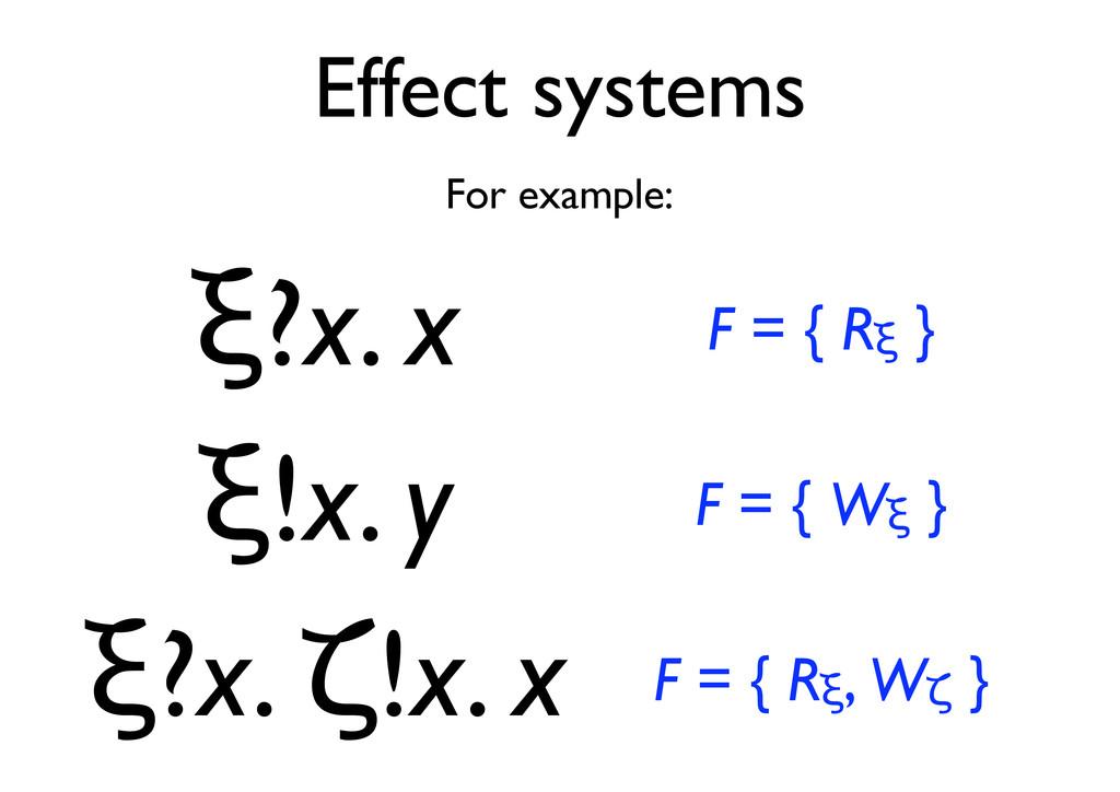 "Effect systems ""?x. x ""!x. y ""?x. #!x. x For ex..."
