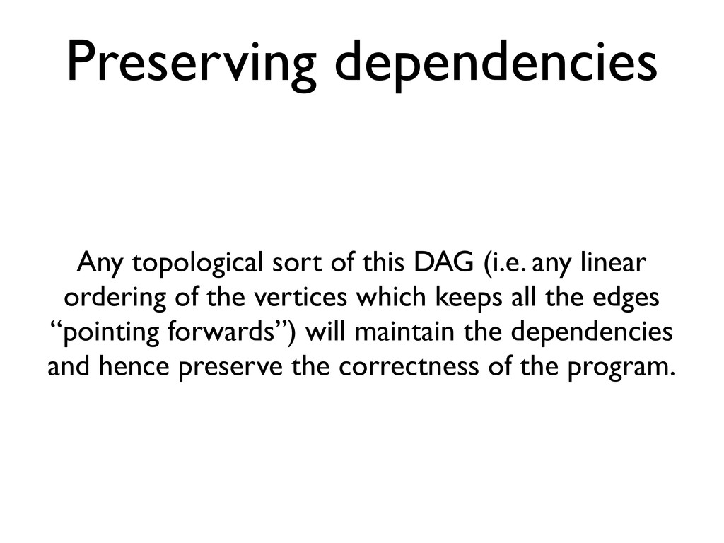 Preserving dependencies Any topological sort of...