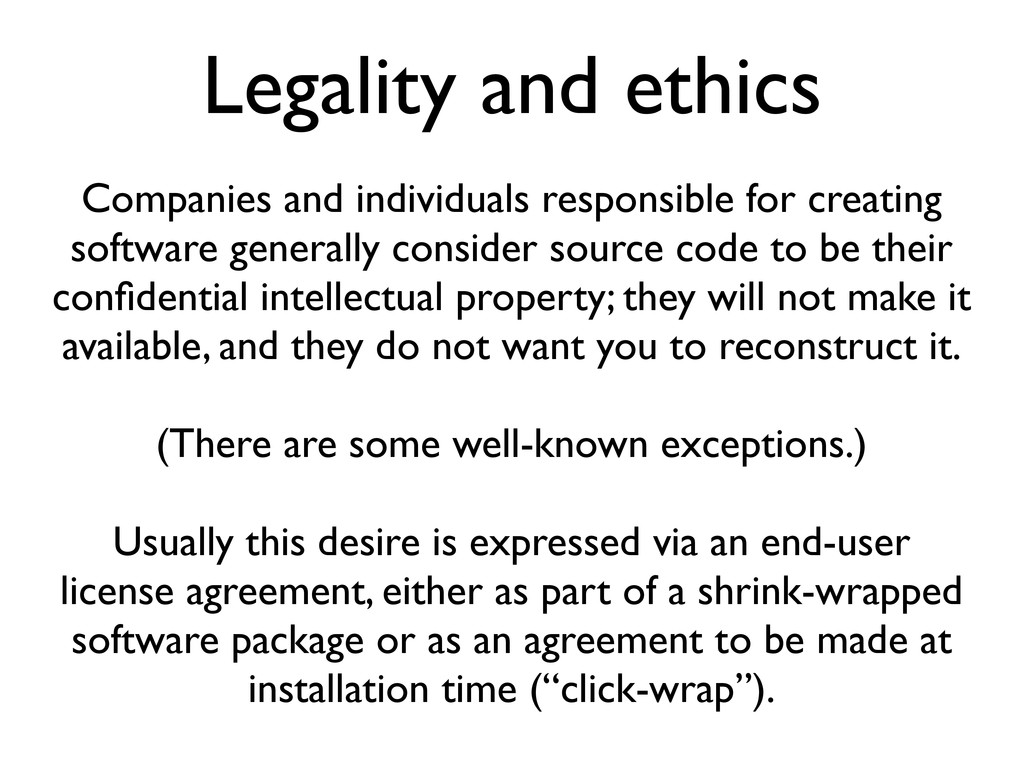 Legality and ethics Companies and individuals r...