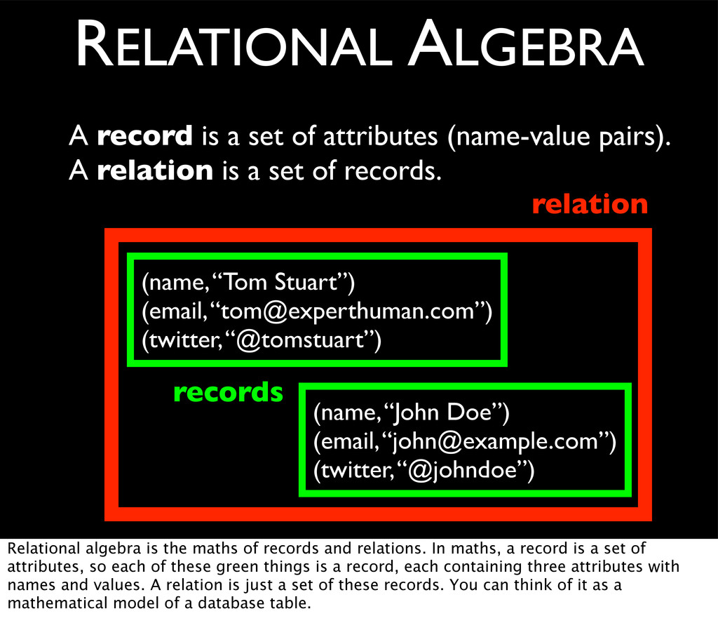 A record is a set of attributes (name-value pai...