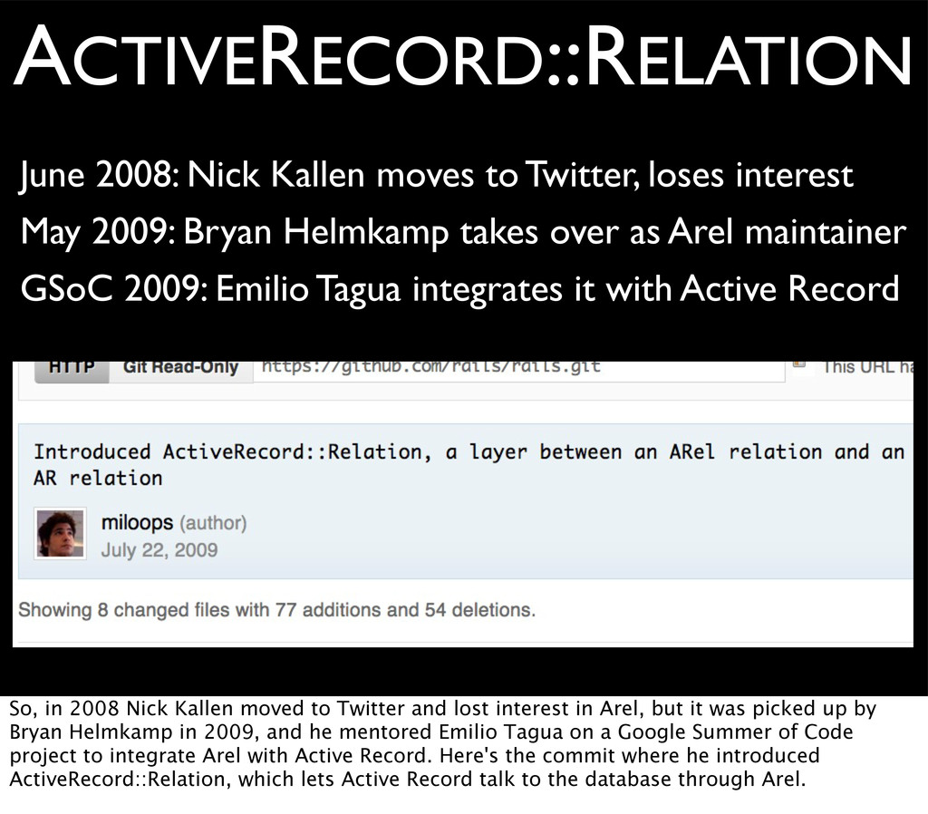 ACTIVERECORD::RELATION June 2008: Nick Kallen m...