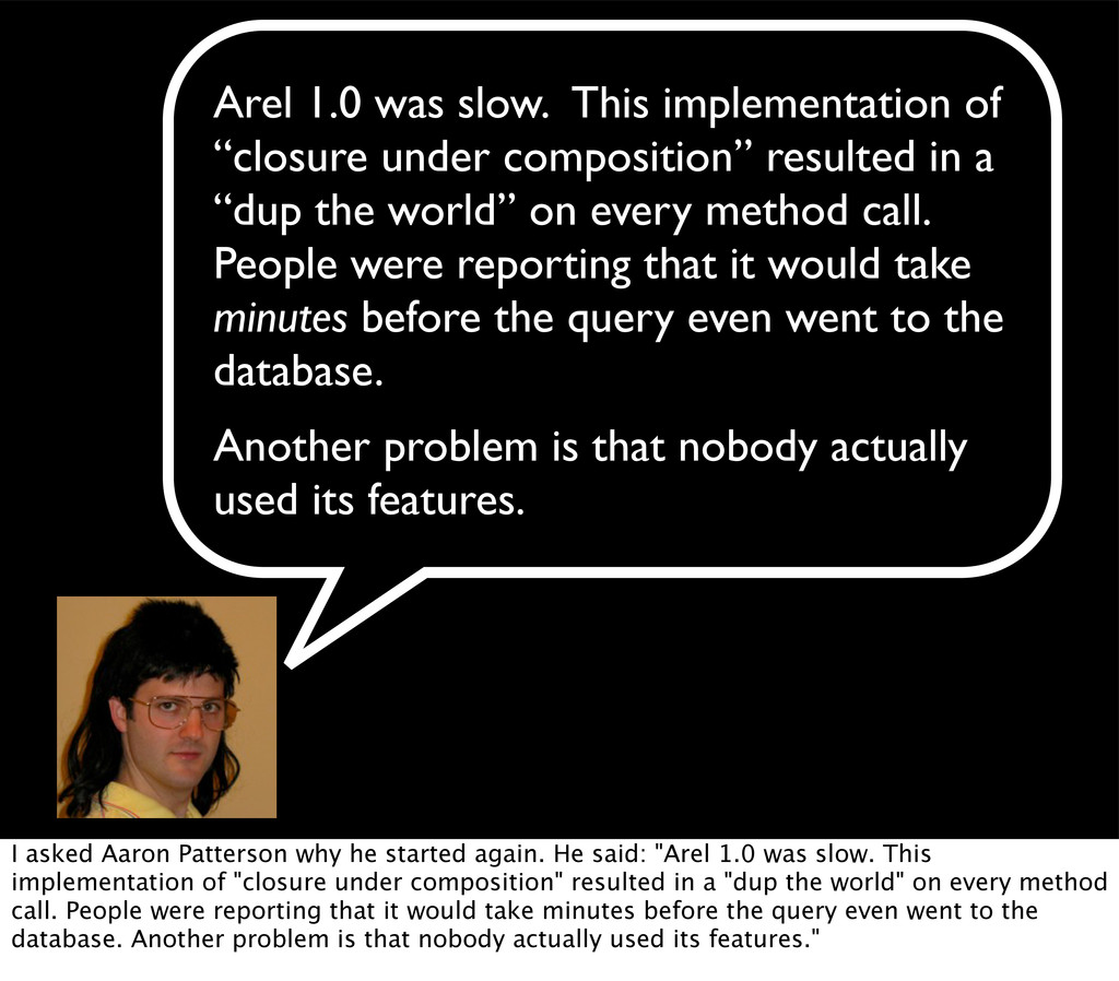 "Arel 1.0 was slow. ""This implementation of ""clo..."