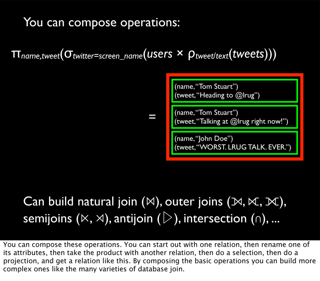 You can compose operations: Can build natural j...