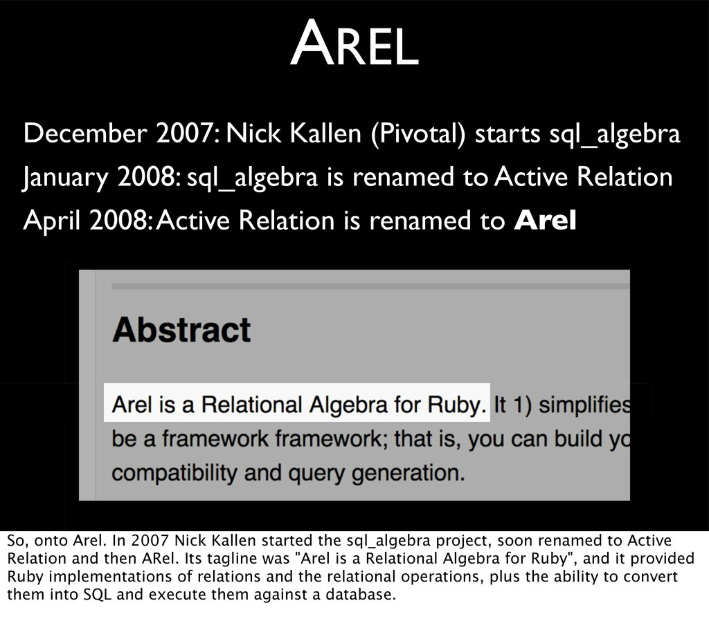 AREL December 2007: Nick Kallen (Pivotal) start...