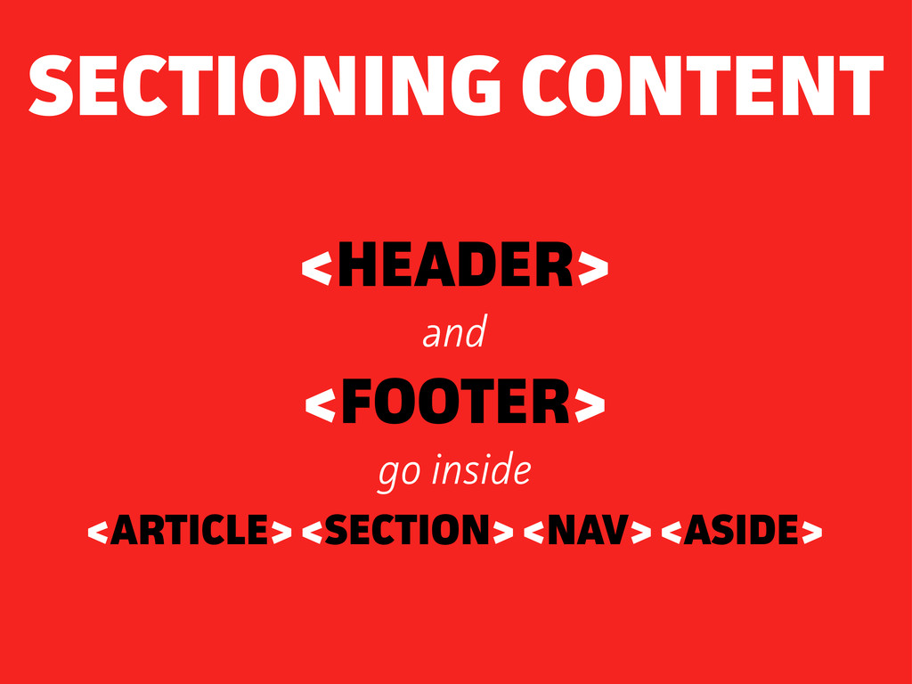 <HEADER> and <FOOTER> go inside <ARTICLE> <SECT...