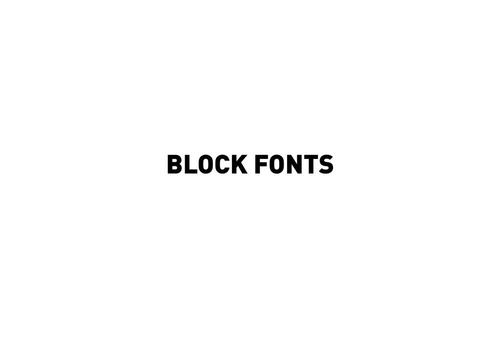 BLOCK FONTS