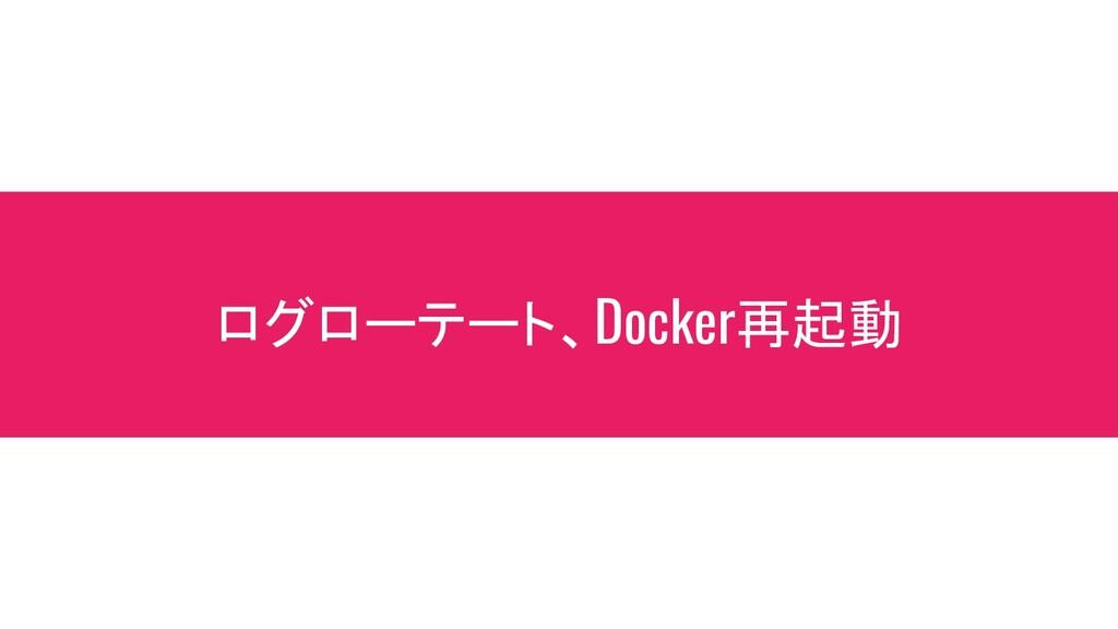 ログローテート、Docker再起動