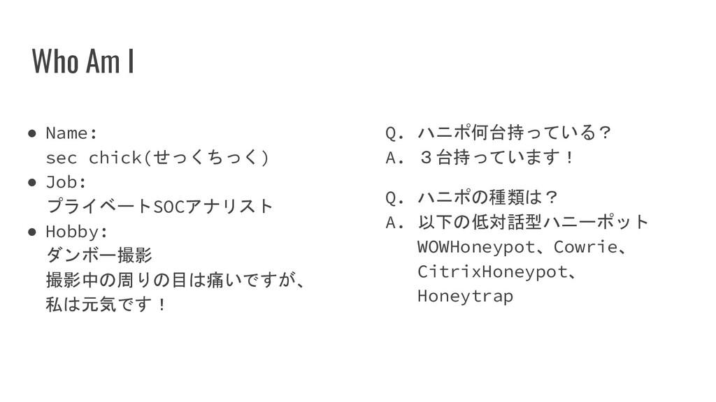 Who Am I ● Name: sec chick(せっくちっく) ● Job: プライベー...