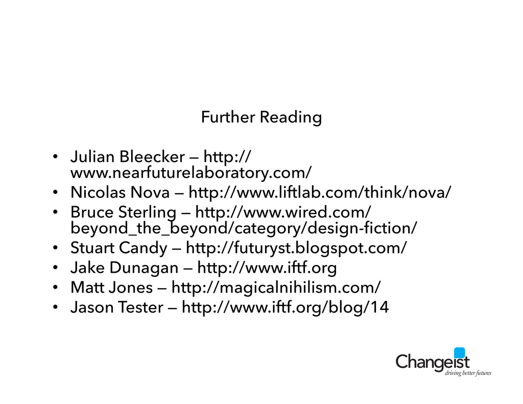driving better futures Further Reading •  Julia...